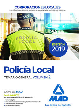 Librería Central - Policía Local. Temario General Volumen 2